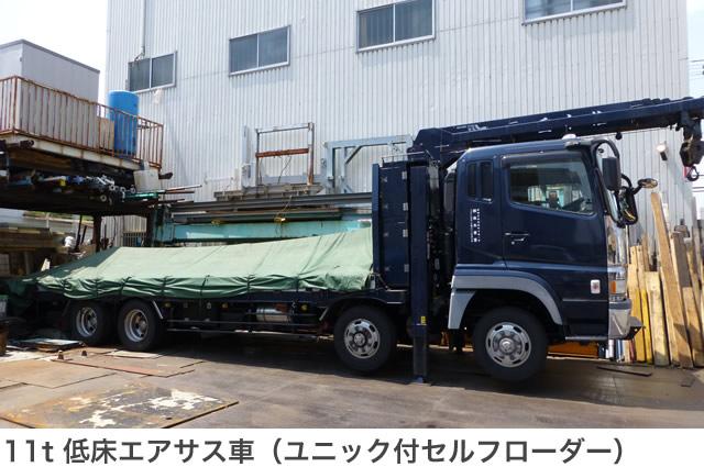 11t低床エアサス車 (ユニック付セルフローダー)
